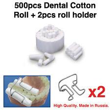 500 Pcs High Quality Dental Soft Cotton Rolls 2 Medium Size Metal Holder