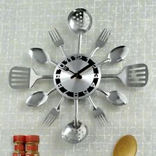 Kitchen Utensil Clock Silvertone Wall Decor Battery Powered Unique