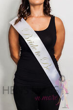 Hens Night Party Sash White with Gold Writing - BRIDE TO BE