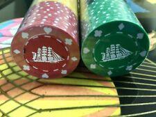 Vintage 60 NOS Bakelite Poker Card Playing Chips Ship Casino Game