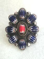 Vintage Sterling Silver Native American Navajo Ring Chevron Bead JB Size 10.75