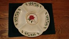 "Royal Limited Holly Holiday 13-1/8"" Relish Server with Poinsettia Center"