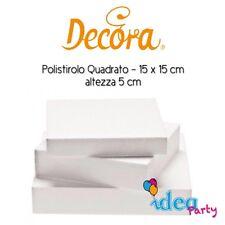 POLISTIROLO QUADRATO 15 x 15 x H 5 cm Decora Cake Designe attrezzatura torta