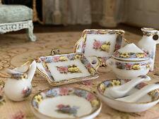 Vintage Miniature Dollhouse Artisan Porcelain Gilt Dinner Serving Set Blue Pink