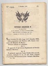 J589-REGNO DI SARDEGNA 1852 REGOLAMENTO SERVIZIO SANITARIO MARITTIMO