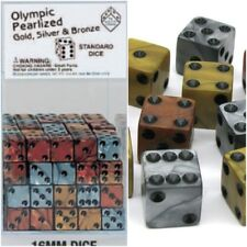 Set of 6  Olympic Pearlized 16mm, D6 Koplow Dice - 2 each of Gold, Silver Bronze