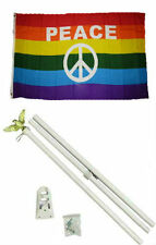 3x5 Gay Pride Peace Letters Symbol Rainbow Flag w/ 6' Ft White Flagpole Kit