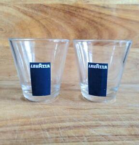 Pair of Vintage Lavazza Double Espresso Glasses, Classic Lavazza Branding, Cafe