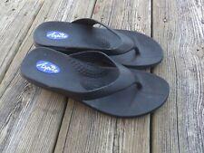 Aspire Okabashi Womens Size Medium (6.5-7.5) Black Wedge Heel Sandals Flip Flops