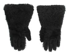 NEW $920 DOLCE & GABBANA Gloves Gray Leather Shearling Fur Wrist Mens s. 9 / M