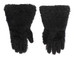 DOLCE & GABBANA Gloves Gray Leather Shearling Fur Wrist Mens s. 9 / M