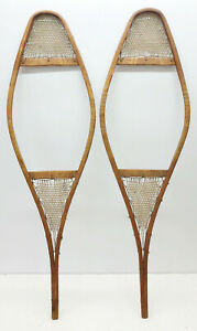 """Antique Vintage 11"""" X 37"""" Child Snowshoes For Decor / Arts & Craft FREE SHIPPING"""