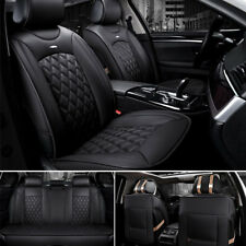 Black PU Leather Car Seat Covers Front Rear Full Set Luxury Breathable Cushion