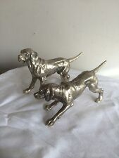 TWO LOVELY SILVER PLATED RETRIEVER DOG FIGURINES