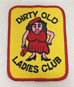 Vintage Dirty Old Ladies Club Woman Big Boobs Clothing Patch Yellow Red T11