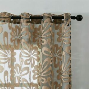 Sheer Curtains Geometric Window Tulle Curtain Jacquard Curtain For Bedroom Panel