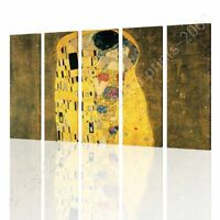 The Kiss by Gustav Klimt   Ready to hang canvas   5 Panels Wall art giclee HD