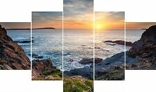Huge Extra Large 5 Piece Set Rugged Cornwall Coastline Canvas Pictures Wall Art
