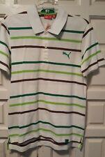NWT PUMA Men's Heritage Polo Short Sleeves Cotton Shirt L White $55 Green Retro