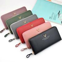 Damen Brieftasche Damen Leder Brieftasche Lange Trifold Clutch Geldbörse