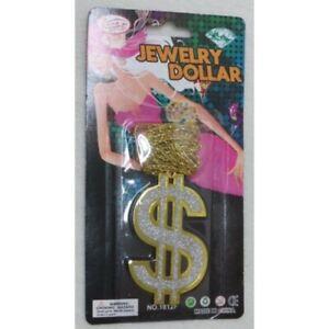 NEW DOLLAR SIGN SMALL GOLD SILVER PENDANT NECKLACE GANGSTER PIMP MEN FANCY DRESS