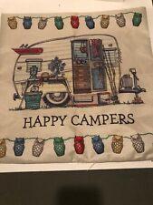 Cotton Happy Camper Soft Cushion Cover Sofa Waist Throw Pillow Case Home Decor