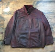 dunhill Men's Winter Coat-Jacket-Red-Size 54-Suede-Zip Closure-Sheepskin Merino