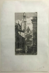 MUSEUM QUALITY French ~ CHARLES MERYON ~ 1852 St. Etienne ETCHING PARIS VIEW