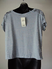 BNWT- Miss Selfridge ~ grey short sleeved summer top- lace shoulders ~ size 12