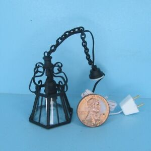 Dollhouse Miniature 12v Electric Ornate Hanging Wrought Iron Light MH1016