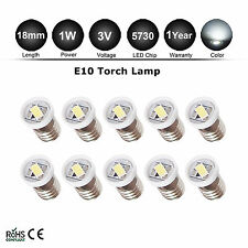 10pcs E10 5730 style Screw 1 LED SMD 3V Pure White Torch Bulb Light DIY LIONEL