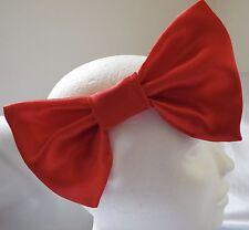 HEADBAND LARGE RED SATIN 7 INCH BIG HAIR BOW LADIES GIRLS NEW
