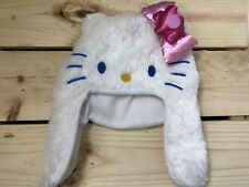 Hello Kitty winter White hat Furry Fuzzy 3D Pink Bow Girls New