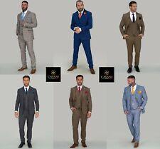 Mens Cavani Peaky Blinders Tweed Check Vintage 3 Piece Suit Wedding Tailored Fit