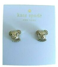 Kate Spade Gold Tone Pug Puppy Gem Accent Stud Earrings NEW Tags Authentic