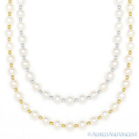 7mm White Freshwater Pearl Ladies Beaded Necklace in 14k Yellow or White Gold