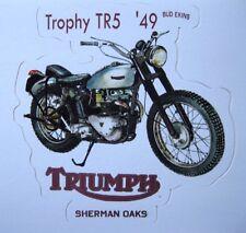 Triumph Motorcycle Sticker Decal 1949 Trophy TR5 Sherman Oaks New Retro Stricker