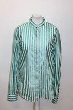 BURBERRY Ladies Blue/White Silk Blend Long Sleeve Crew Neck Striped Shirt XL