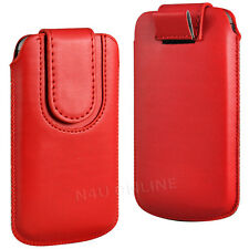 PREMIUM PU LEATHER PULL FLIP TAB CASE COVER POUCH WITH STRAP FOR HTC PHONES