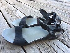 Sporto Black Leather Sandals Heel Strap Flats Size 9 M Women's