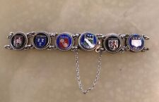 Beautiful German 835 Silver Bracelet With Enamelled City Crests & Safety Chain