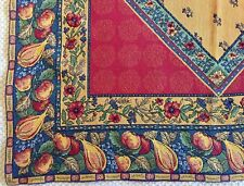 "GOBLYS Woven Cotton French Tapestry Tablecloth 52""x52"" Red Yellow Blue FRANCE"