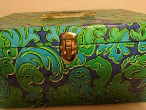 VTG retro blue Avocado Green paisley Sewing Box Pull out Tray Case MCM w/ scraps