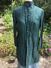 Vintage Indian Veste Vert en relief soie Nehru Col Wrap Hip Longueur Doublé Med