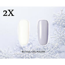 2X RS-Nail 002053 Gel Nail Polish UV LED Shiny Gray White Soak Off Professional