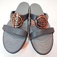 CROCS Sport Flip Flops Slides Sandals Shoes Low Wedge Heel BROWN Grey Womens 6M