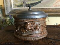 19th Century French Salt Glazed Stoneware Pottery Tobacco Smokers Jar Pewter Lid