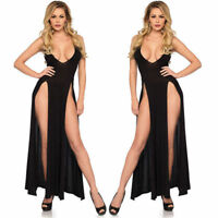 Cut Sleepwear Sleeveless High Slit Maxi Women Gauze Low Sexy Long E8-01 Dress