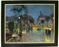 Französischer Postimpressionist Paris im Regen Stadtansicht Ölgemälde signiert