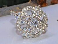 Real 1.98ct Princess Cut Diamond Bridal Engagement Ring 14k Solid White Gold
